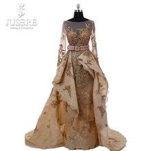 2018 Jusere High Couture line luksusowe złoto zroszony Appliqued luksusowe długie rękawy v back suknie wieczorowe suknia wieczorowa W50256