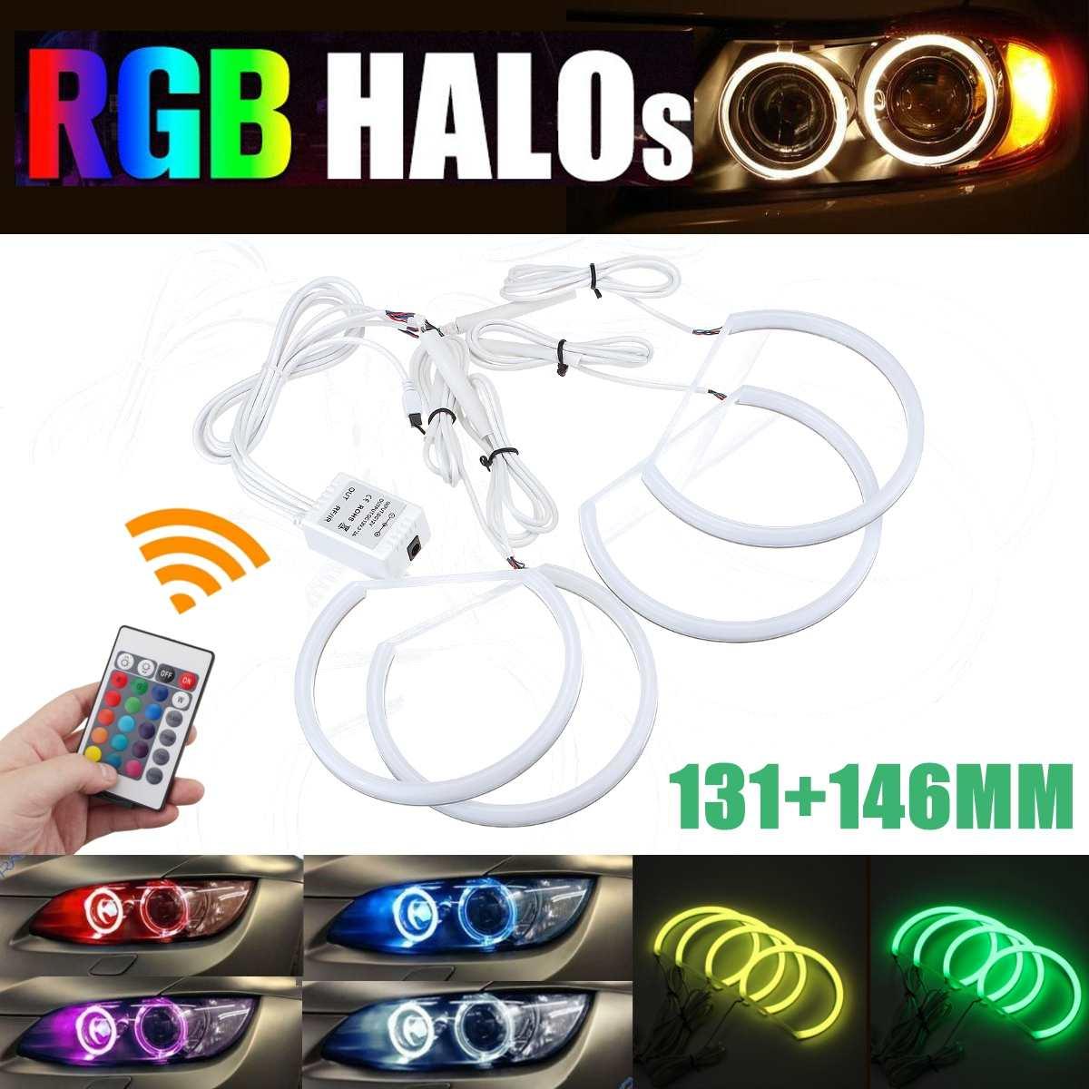 RGB Angel eyes télécommande 2*131mm & 2*146mm coton anneau halo kit pour BMW E46 A + B Non projecteur 4D 16 couleurs flash