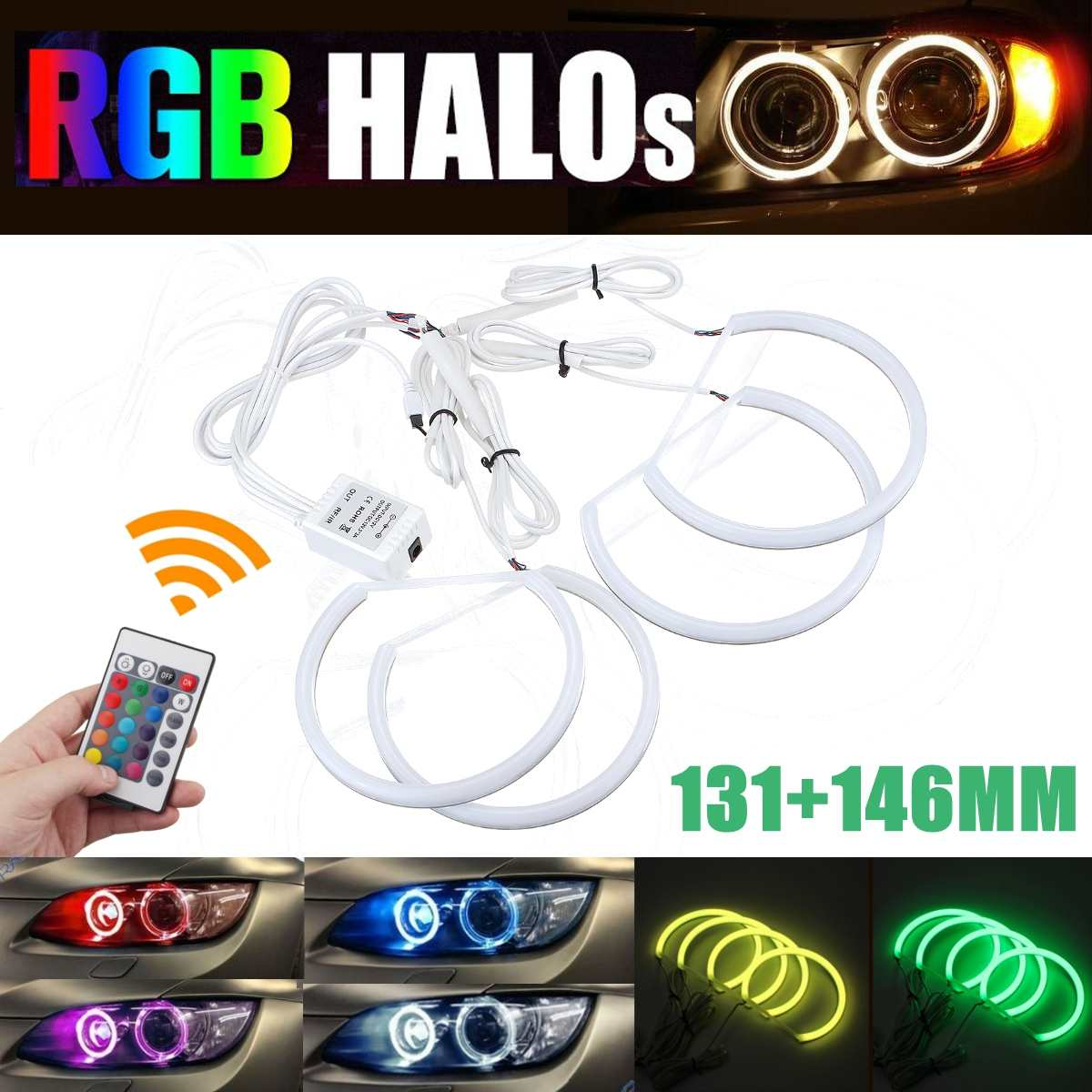RGB Angel eyes Remote control 2*131mm&2*146mm Cotton halo ring kit for BMW E46 A+B Non projector 4D 16colors flash
