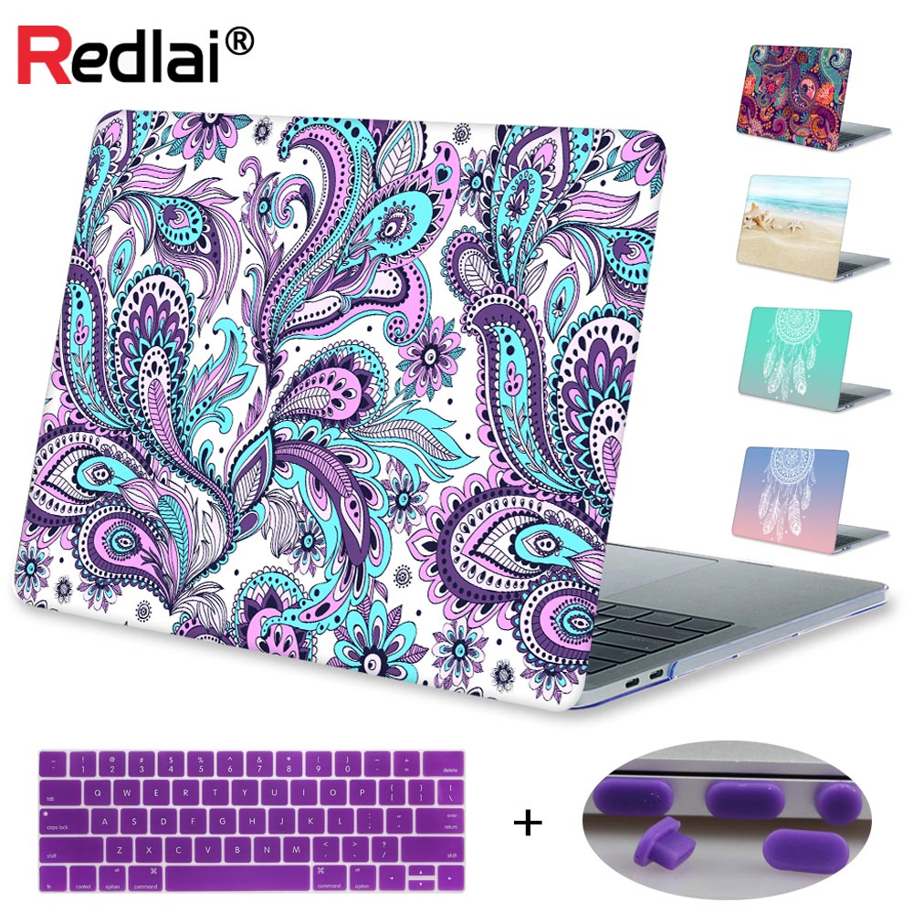 Redlai For Macbook Pro 13 15 with Touch bar 2016 & 2017 A1706 Paisley Print Plastic Hard case For Macbook Air Pro 11 13 inch