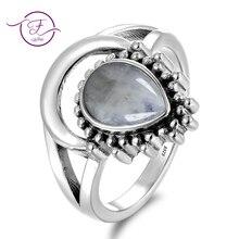 7x9MM Natural piedra lunar plata 925 anillos nuevo diseño anillo de lujo para hombres mujeres al por mayor Vintage joyería para fiesta y boda tamaño 6-10