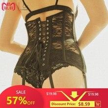 Sexy Corset Lace up Bustier Black Lace corselet steampunk Corset plastic bone corsets and bustiers plus size corset for women