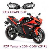 Par Limpar Lens Lâmpada Cabeça Motocicleta Frente Farol Assembléia farol Para Yamaha YZF R1 2004 2005 2006