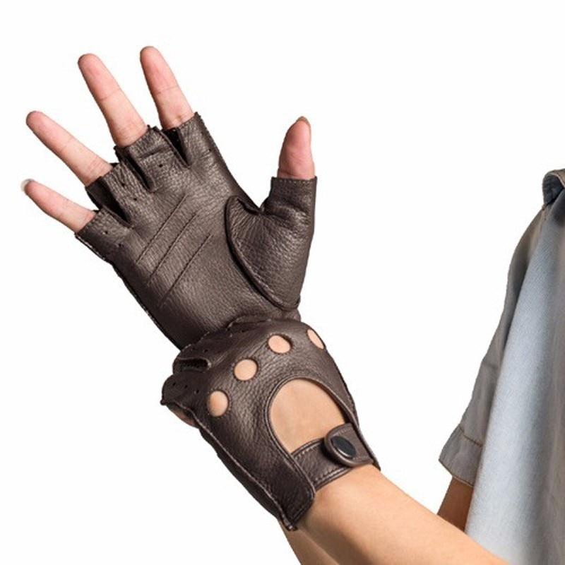 Genuine Leather Half Finger Gloves Men Summer Breathable Driving Semi-Finger Male Sheepskin Glove Unlined Fitness HN1904251