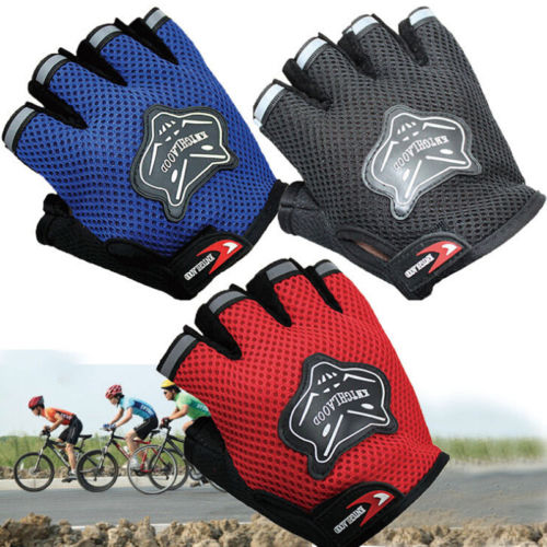 Pudcoco Hot 7-16Y Kids Adults Bike Half Finger Gloves Cycling Mesh Gloves Bicycle Sport Short Gloves 4Colors Hot(China)