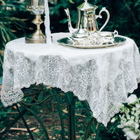 Embroidery Tablecloth Elegant Lace Table Cover Dining Room Restaurant Cafe Bistro Wedding Holiday Event Catering Tablescapes P29