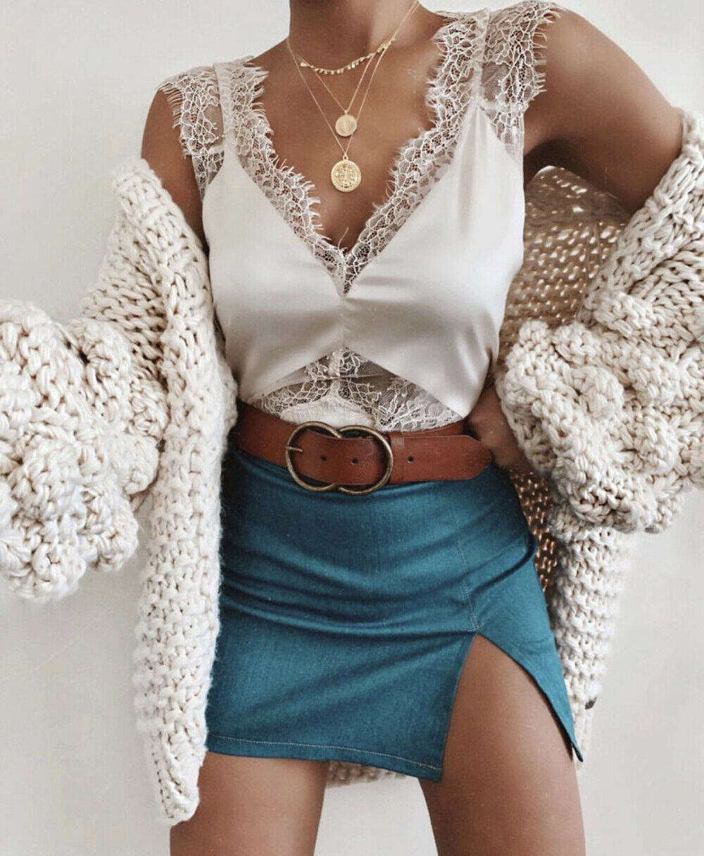2019 New Hot Sale Fashion Short Top Casual Camisole Lace V-Neck Sleeveless Loose  Off Shoulder Summer Tanks Tops