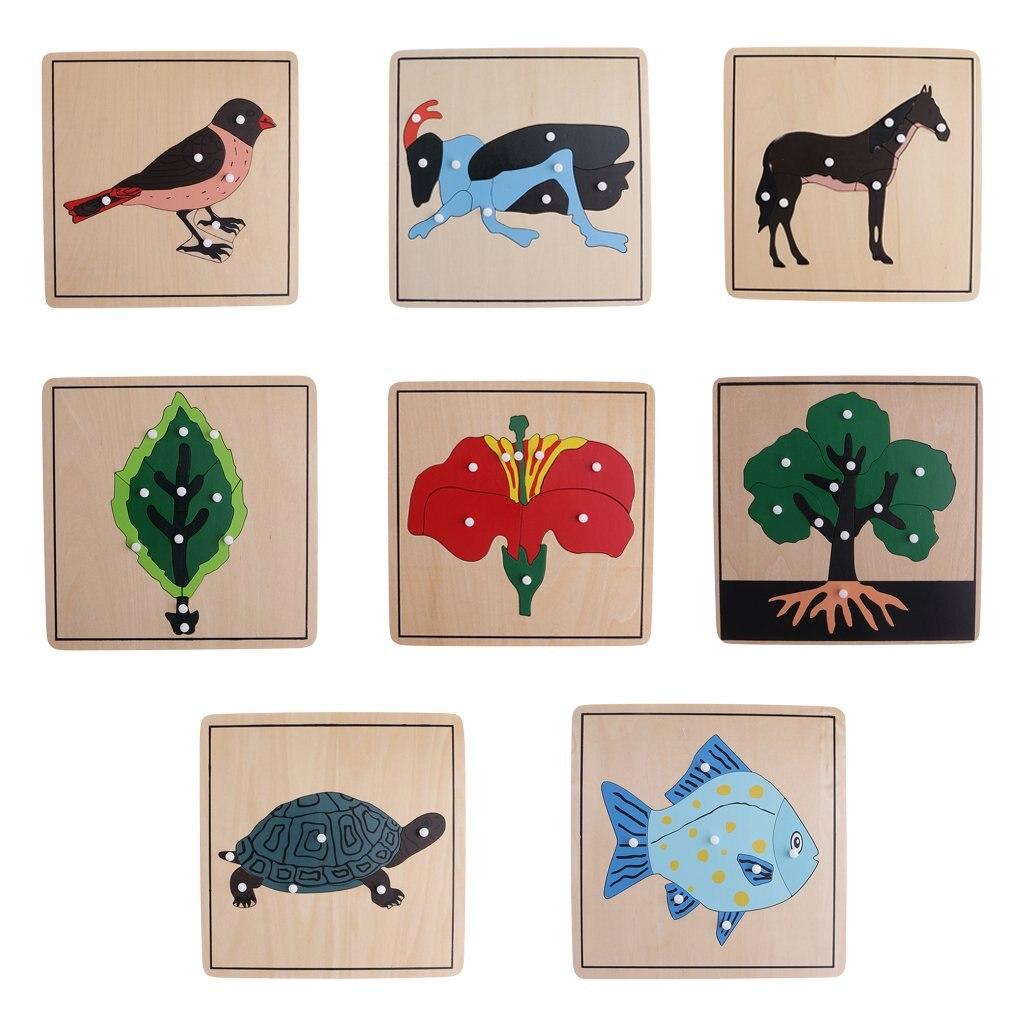 8 pièces En Bois Animaux Usine De Puzzle Intelligence Développement Jeu Montessori Apprentissage jouets éducatifs pour Enfants Enfants