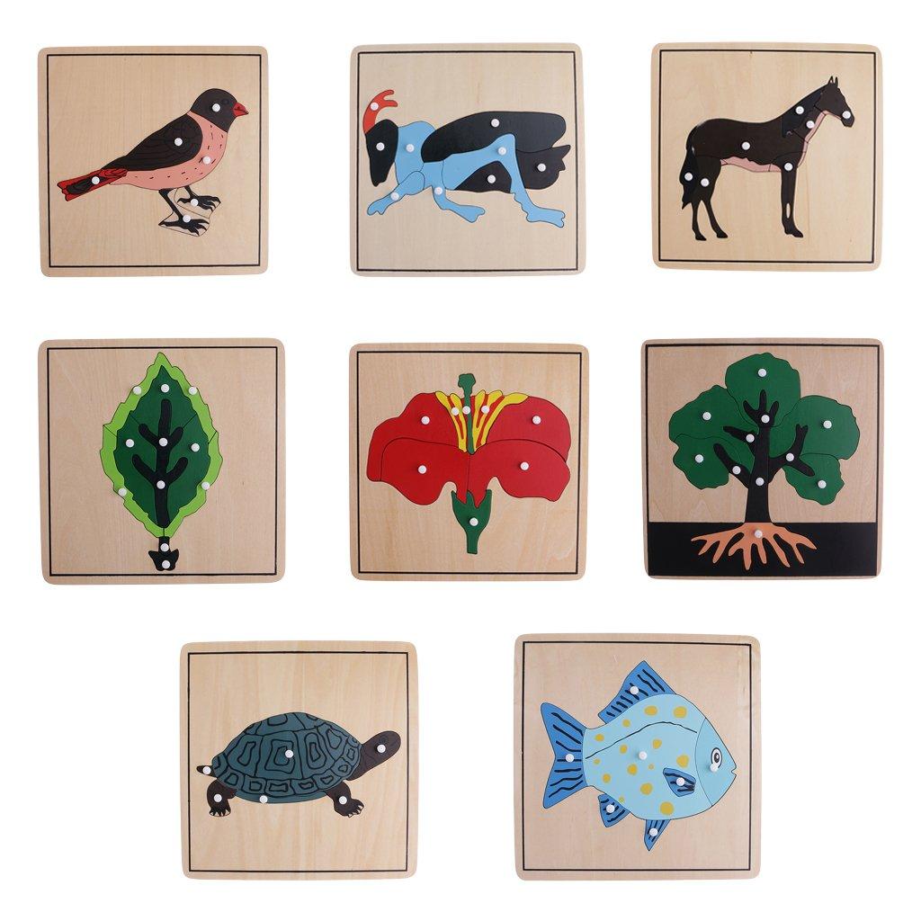 8 stuks Houten Dier Plant Puzzel Intelligentie Ontwikkeling Spel Montessori Early Learning Educatief Speelgoed voor Kinderen Kids