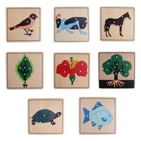 8pcs Wooden Animal Plant Puzzle Intelligence Development Game Montessori Early Learning Educational Toys for Children Kids