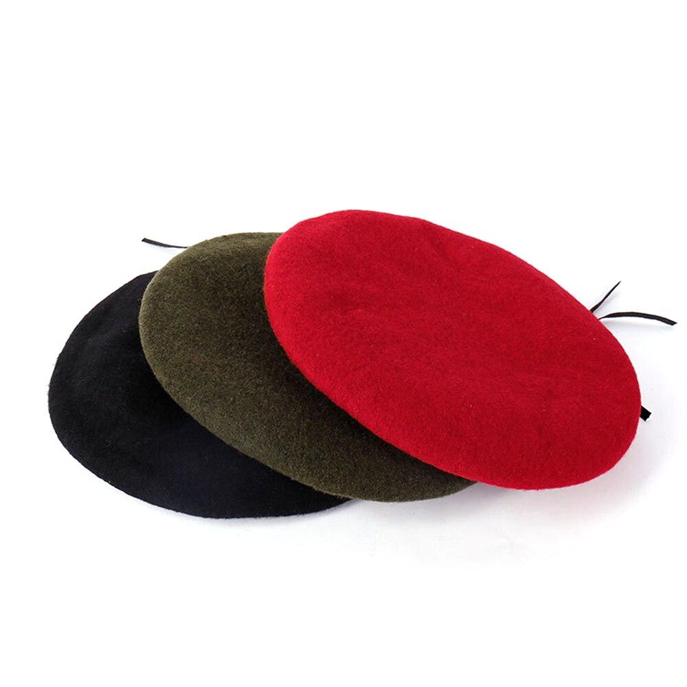 Adjustable Vintage Winter Berets Hat Lady Painter Hat Women Wool Berets Solid Caps Bonnet Warm Cap Artist Beanie Unisex Fashion