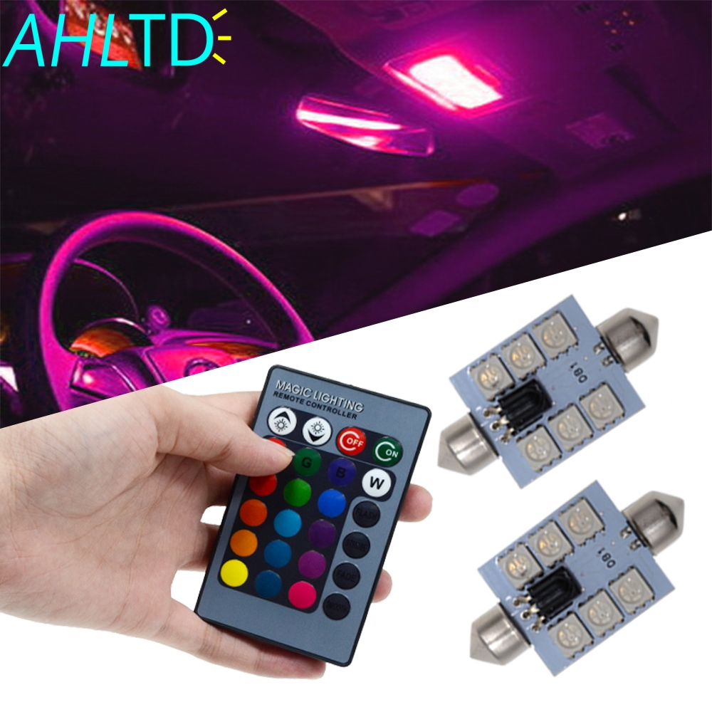 2X C5w Car Led RGB 5050 6SMD 41mm Festoon Dome Car Door Light Automobile Remote Controlled Colorful Lamp Roof Atmosphere Bulbs