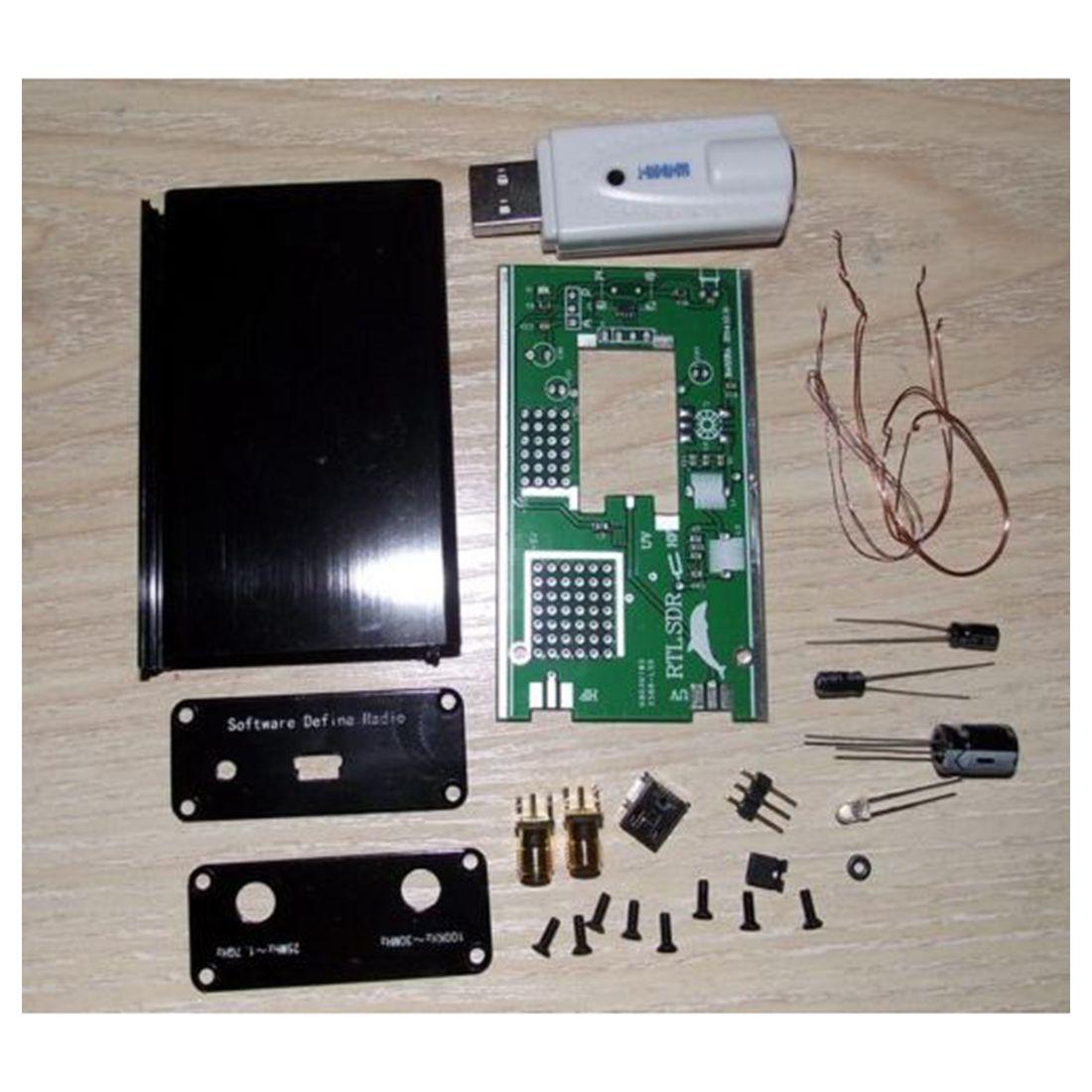 DIY Kit 100 KHz-1.7 GHz FM DSB UV HF RTL-SDR USB Receptor Sintonizador R820T + RTL2832U CW