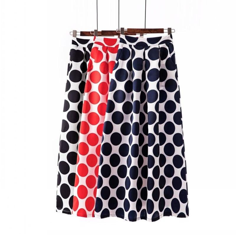 Summer Boho Elegant Casual OL Lady Women Long Skirts Retro Preppy Polka Dots Print Plus Size Aline Black Female Vintage Skirt