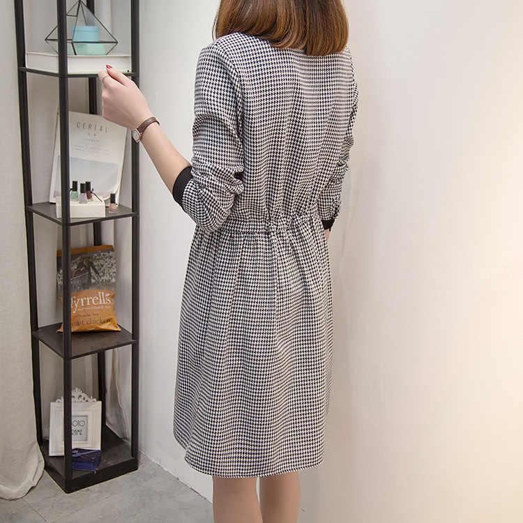 XL-5XL размера плюс 2019 Весна Новый элегантный дизайн клетчатое ТРАПЕЦИЕВИДНОЕ ПЛАТЬЕ на пуговицах с отложным воротником полный рукав женское платье K410