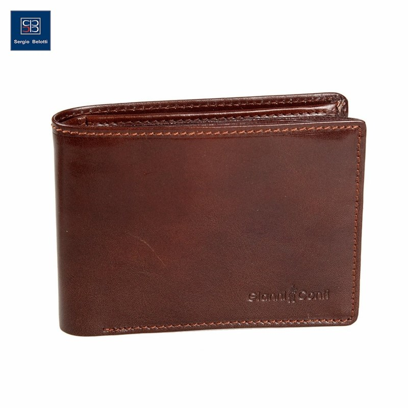Coin Purse Gianni Conti 907041 Brown simline vintage genuine crazy horse cow leather men men s long hasp wallet wallets purse zipper coin pocket holder with chain