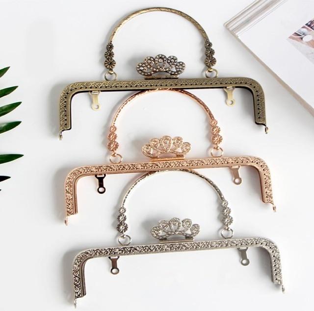 DIY 20 cm corona de diamante cabeza brillante Metal monedero marco Mango para bolsa de costura artesanal Sastre alcantarilla
