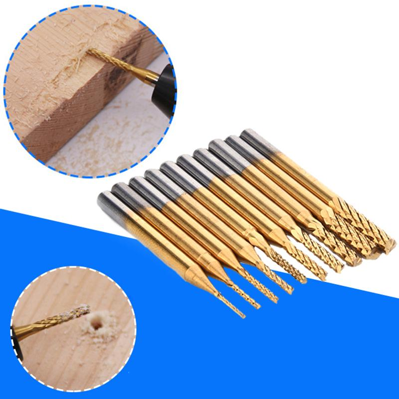 Drill Bit Set 0.8-3.175mm PCB Engraving Cutter Rotary CNC End Mill 10pcs Cemented Carbide Engraving PCB CNC Rotary Burr