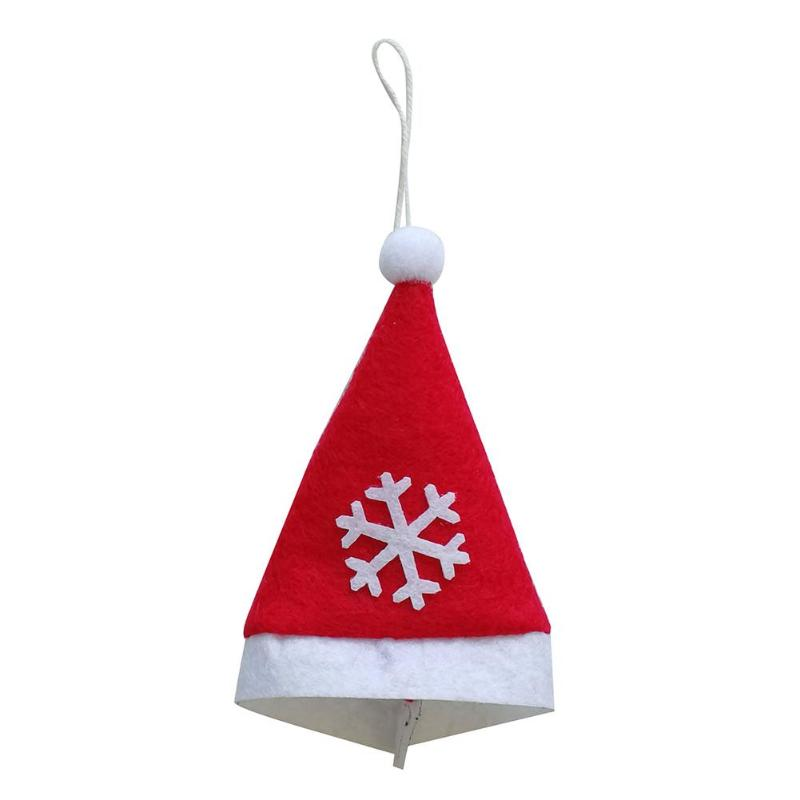 Snowflakes Christmas Hat Kids DIY Tree Ornaments <font><b>Knife</b></font> Fork Pouch Holder Gift for Children Creative DIY Sticker Hat Christmas image