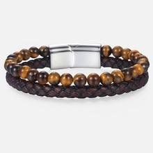 Unique Tiger Eye Stone Beaded Bracelet Men's Genuine Leather