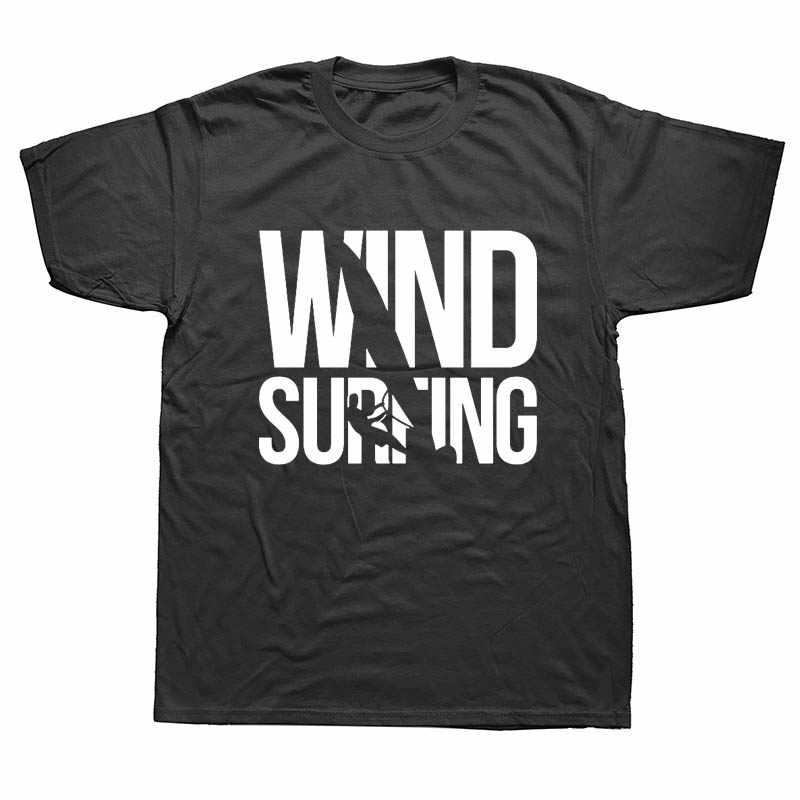 Lucu Vintage Lahir To Windsurf Selancar Angin Huruf T Kemeja Lengan Pendek TEE Kemeja O-neck Pria Tees Plus Ukuran