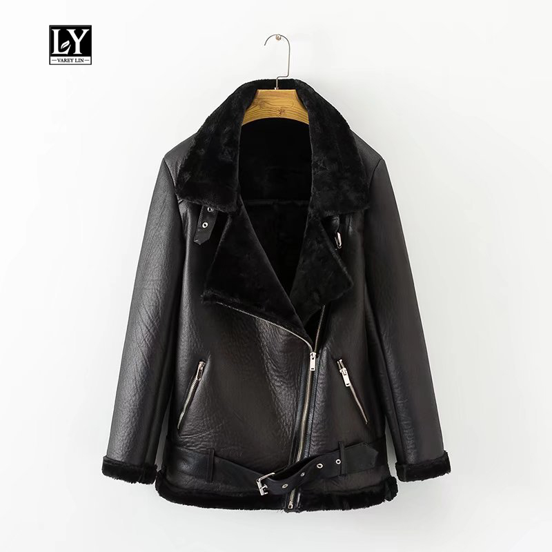 Ly Varey Lin Winter Women Faux Lamb   Leather   Jacket European American Women Punk Lapel Thickened Padded Warm Zipper Fur Outwear