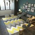 Модный современный скандинавский желтый серый волнистый коврик с зигзагообразным принтом/кухонный коврик для гостиной  спальни  гостиной  ...
