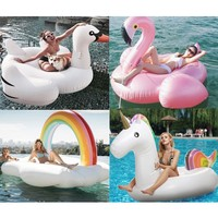 Swim ring water swimming pool floats for kids adults inflatable toys mount unicorn large rose gold flamingo YQ02