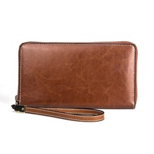 Купить с кэшбэком Retro RFID Wallet Women Wallets Female Genuine Leather Money Purse Card Holders Coin Pocket Zipper Clutch Bags Carteira Feminina