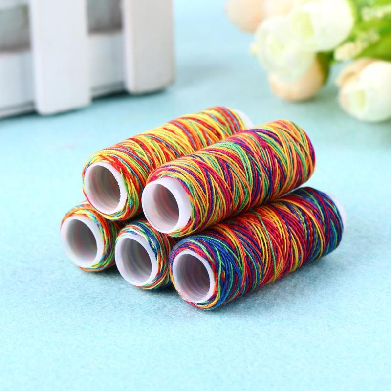 Popular Embroidery Quilting Hand Craft Gradient Sewing Thread Rainbow Color ND