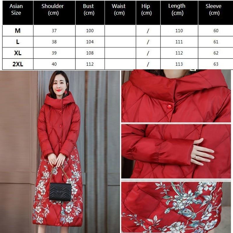 Chine Green Veste Mince Capuche Floral Imprimé Cardinal Plus Manteau Taille 2018 Chaud Long Noir Outwear Parka Vêtements Femmes À D'hiver grass black Femle Okq069 tfq4PYx
