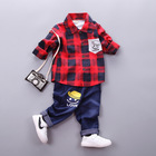 Carters Official Store Ins Baby Boys Spring Autumn Fashion Kids Long-sleeved Plaid Shirt +pants Pcs Set Infant Clothes Suit
