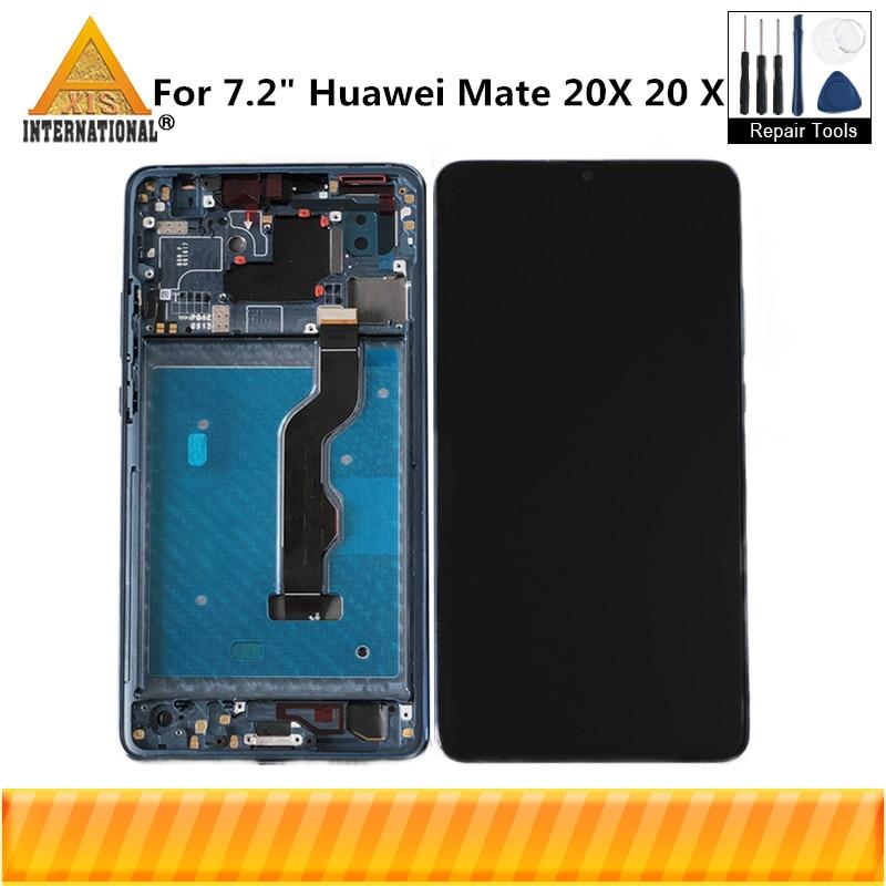 Original Axisinternational For 7 2 Huawei Mate 20 X LCD Screen Display Frame Touch Panel Digitizer