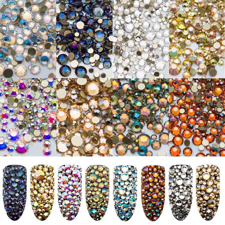 1440PCS AB Glass Rhinestones for Nail Art Design Mixed Crystal Nail Art Decoration Shiny Nail Stones Manicure Accessorie MJZ2108
