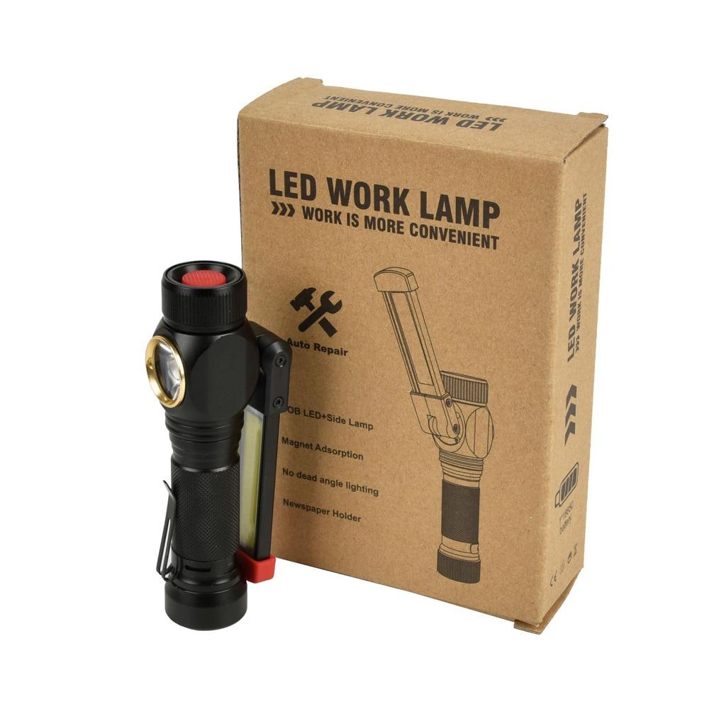 LED Flashlight Torch Climbing Work Light Flashlight Cycling Emergent Lamp Hiking Portable COB+T6 Warning Lamp Tactical Military