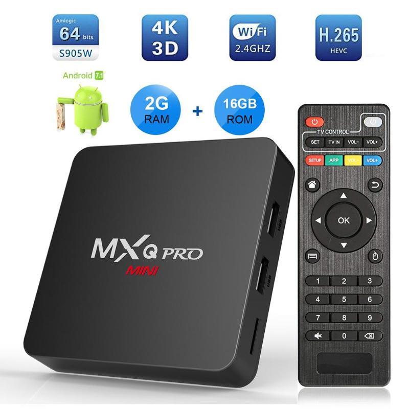 MXQ Pro Ricevitori TV Set Top Box MINI Android7.1 Smart TV Box 2 GB + 16 GB Amlogic S905W Quad core 4 K Set-top Box Media PlayerMXQ Pro Ricevitori TV Set Top Box MINI Android7.1 Smart TV Box 2 GB + 16 GB Amlogic S905W Quad core 4 K Set-top Box Media Player