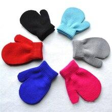 1 пара перчаток, 7 ярких цветов, теплые зимние перчатки для маленьких девочек и мальчиков, новинка года, однотонные теплые вязаные перчатки для малышей, варежки