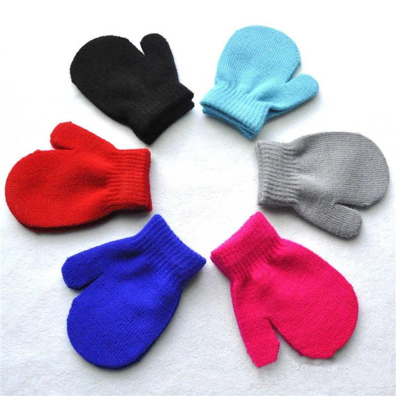 1 par de luvas 7 doces cor do bebê meninas meninos inverno quente luvas 2018 novas crianças sólido bebê crianças quentes kinting luvas mittens