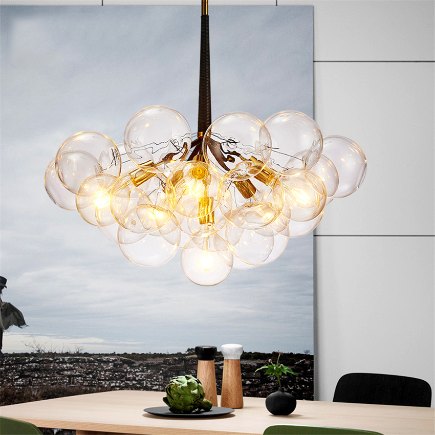 Nordic Glass Molecular Lamp Pendant Lights Lighting Hanging Lamp Led Kitchen Fixtures Dining Pendant Lamp Hotel Lobby Restaurant|Pendant Lights| |  - title=
