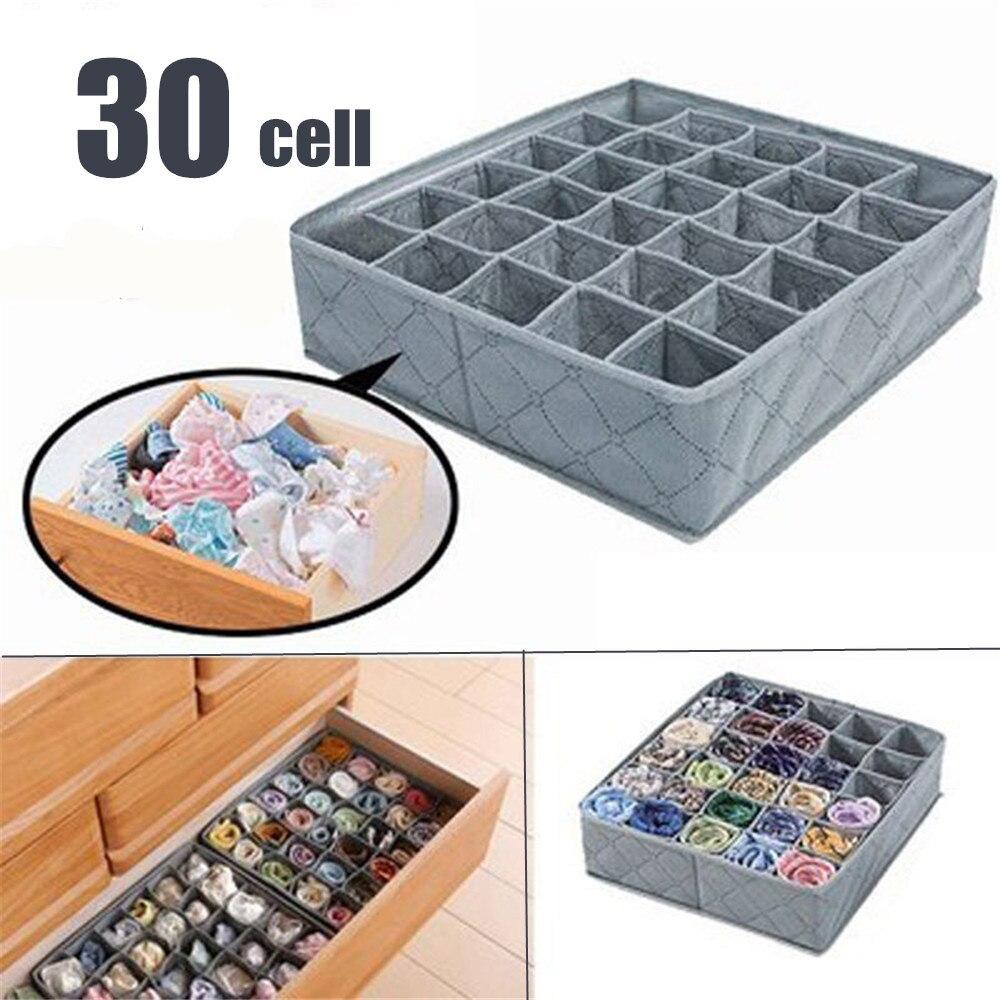 30 Cells Multi size Bra Underwear Organizer Foldable Home Storage Box Non woven Wardrobe Drawer Closet Organizer For Scarf Socks|Drawer Organizers| |  - title=