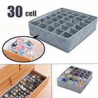 30 Cells Multi-size Bra Underwear Organizer Foldable Home Storage Box Non-woven Wardrobe Drawer Closet Organizer For Scarf Socks