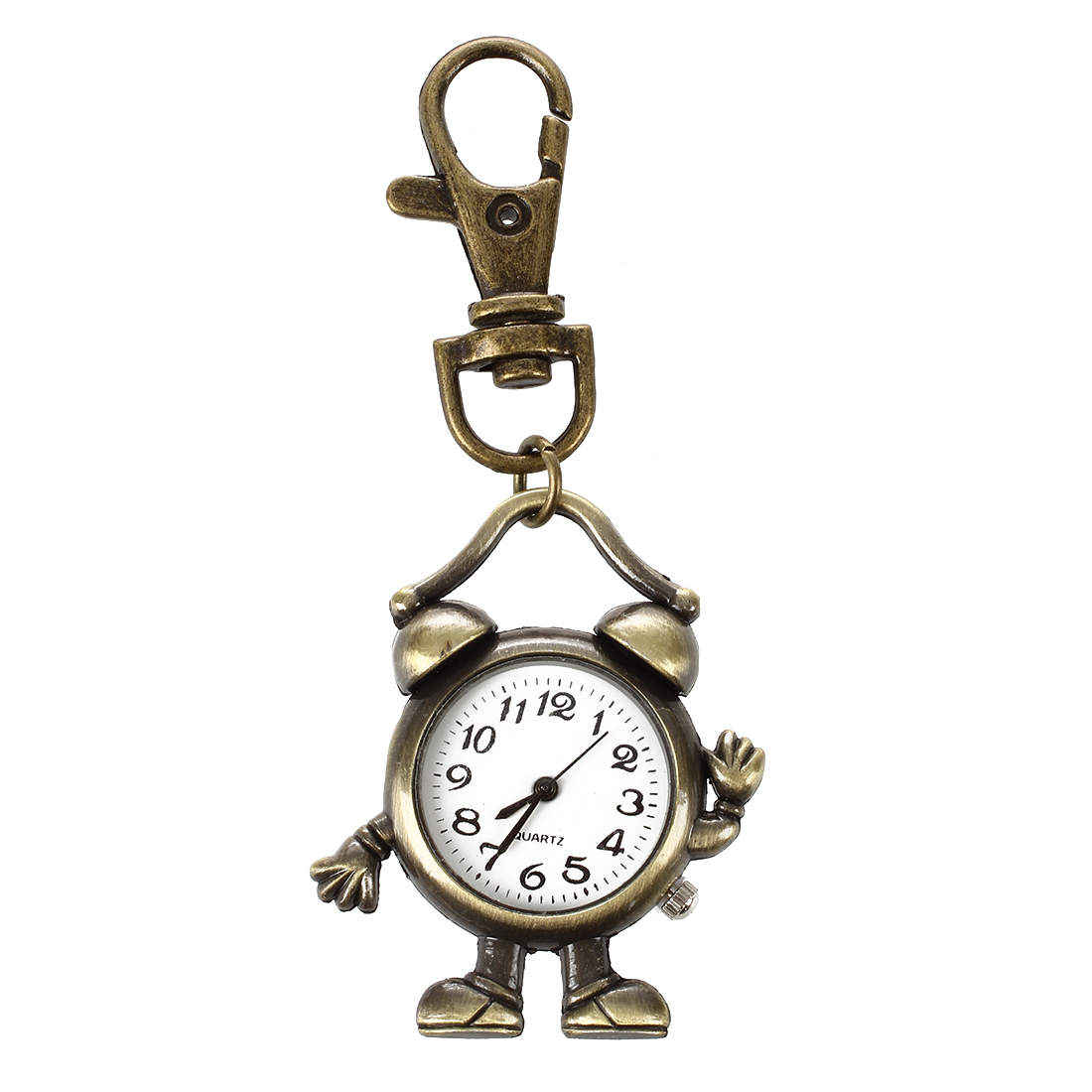 Retro Bronze Metal Clock Robot Keyring Chain With Clock 1.8 New Pocket & Fob Watches