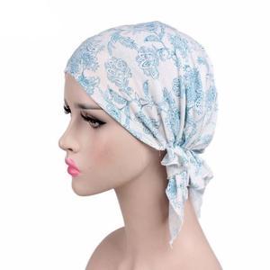 Image 4 - Women Hijab Cap Muslim Inner Cap Islamic Headwear Lady Hat Cap Flower Print Hair Accessories Turban Cap Bandana Choker Headband