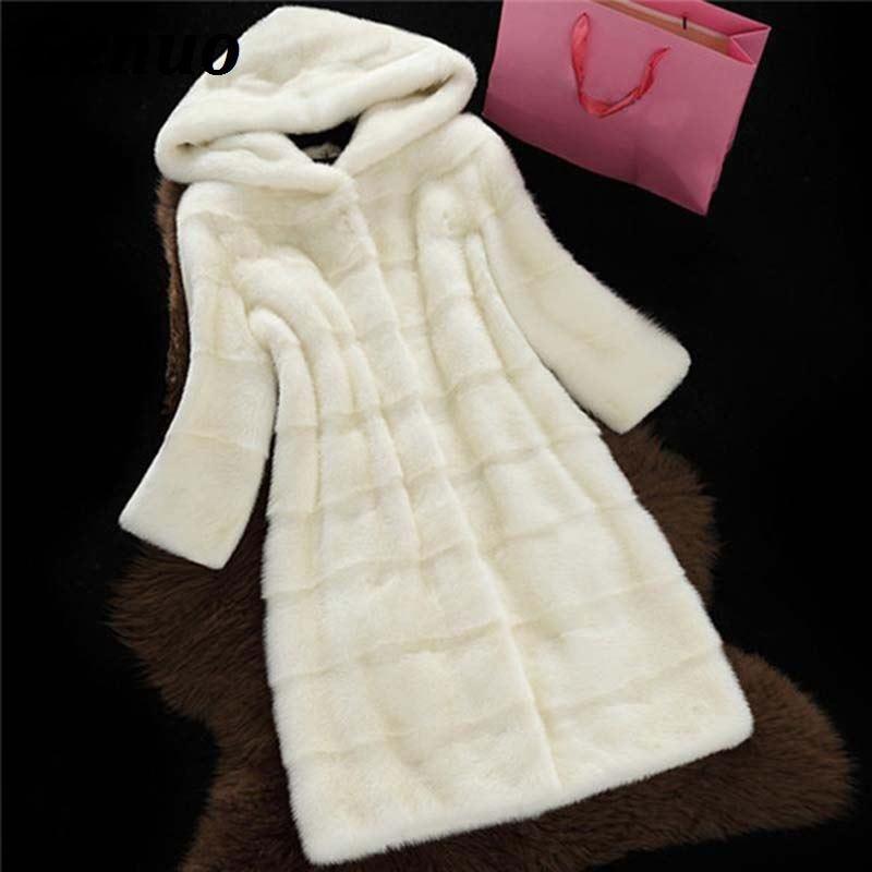 Plus Size 3XL Winter Women Faux Fur Coat Thicken Warm Fur Long Hooded Overcoat Loose Casual