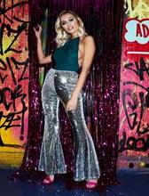 Women Bodycon Sexy Pants Long Flare Trouser  Club Fashion Slim Sequined Clubwear