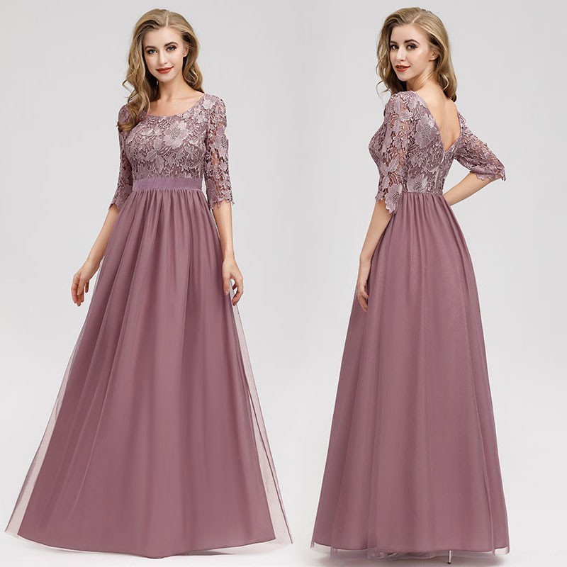 Lace Evening Dresses Long Ever Pretty O-Neck A-Line Half Sleeve Sexy Appliques Elegant Women Evening Gowns Robe De Soiree 2019