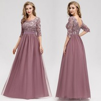Lace Evening Dresses Long Ever Pretty O Neck A Line Half Sleeve Sexy Appliques Elegant Women Evening Gowns Robe De Soiree 2019