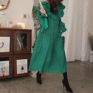 Image 4 - CHICEVER Summer Vintage Print Green Long Dresses For Women Flare Sleeve Ruffles High Waist Pleated Dress 2020 Fashion Tide