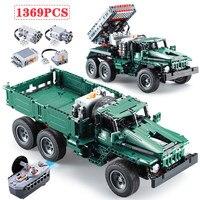 1369 шт создатель RC Rocket Launcher грузовик автомобиль строительные блоки Legoed техника военных Мощность Funcation кубики Moc Игрушки для мальчиков