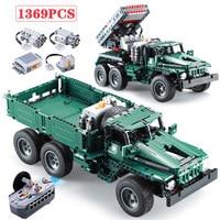 1369pcs Creator RC Rocket Launcher Truck Car Building Blocks Legoed Technic Military Power Funcation MOC Bricks Toys for Boys
